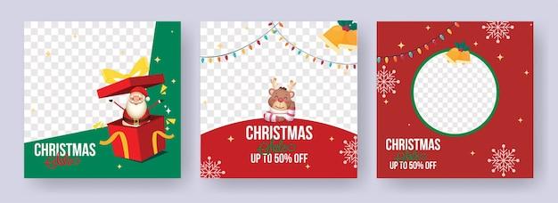 Projekt plakatu świątecznej sprzedaży z najlepszymi ofertami rabatowymi i miejscem na zdjęcie w trzech opcjach