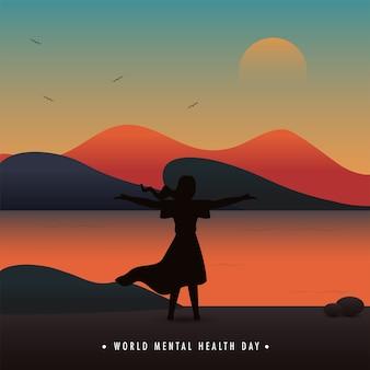 Projekt plakatu światowego dnia zdrowia psychicznego z kobietą otwierającą ręce na tle pięknego krajobrazu wschodu słońca.
