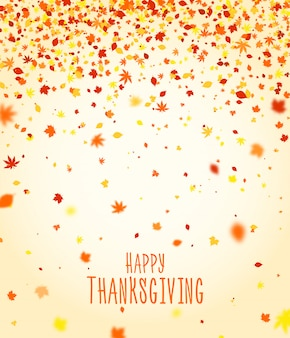 Projekt plakatu święto dziękczynienia. jesień kartkę z życzeniami, transparent sezonu wakacyjnego. piękne tło z kolorowych spadających liści jesienią. tło na karnawał, uroczystości lub uroczysty