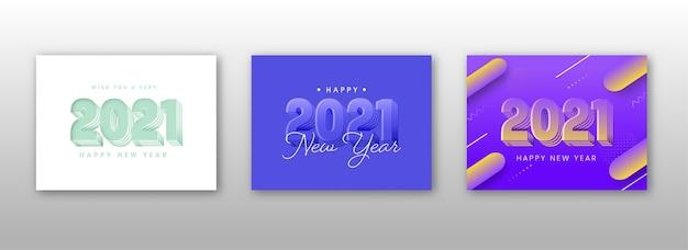 Projekt plakatu szczęśliwego nowego roku z numerem 3d 2021 w trzech opcjach kolorystycznych