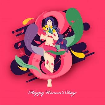 Projekt plakatu szczęśliwy dzień kobiet z liczbą 8, liści i piękna młoda dziewczyna trzyma kwiaty na różowym tle.