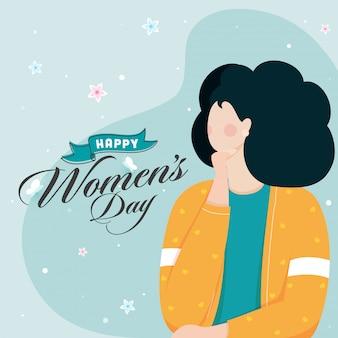 Projekt plakatu szczęśliwy dzień kobiet z postać z kreskówki młoda dziewczyna na niebieskim tle.