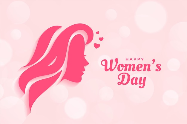 Projekt plakatu szczęśliwy dzień kobiet z twarzą kobiety