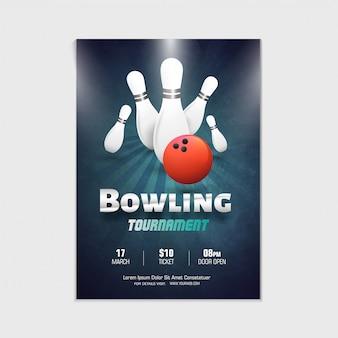 Projekt plakatu, ulotki lub banera turnieju kręgle.
