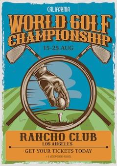 Projekt plakatu vintage tematu golfa z ilustracją ręki gracza, piłki i dwóch kijów golfowych