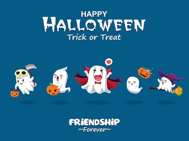 Projekt plakatu w stylu vintage halloween z postacią duchów wampira czarownicy wektorowej żniwiarzy