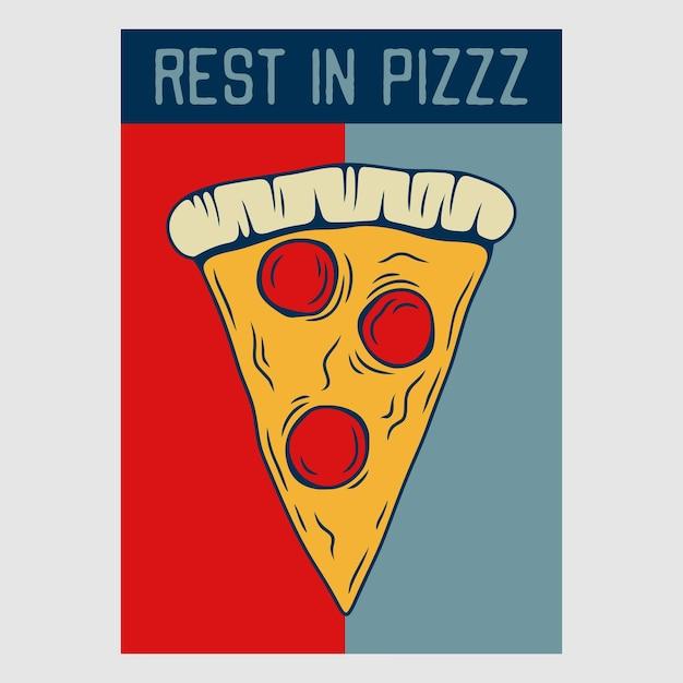 Projekt plakatu w stylu vintage spoczywa w retro ilustracji pizzy