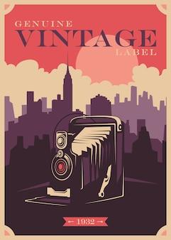 Projekt plakatu w stylu vintage z aparatem fotograficznym.
