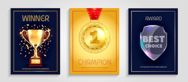 Projekt plakatu wektorowego dla zwycięzcy.