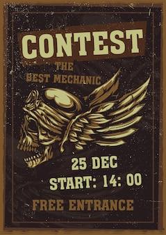 Projekt plakatu z czaszką na hełmie i skrzydłami