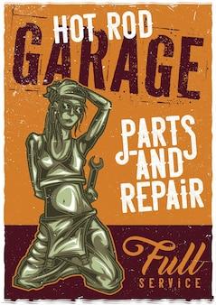 Projekt plakatu z dziewczyną mechanik