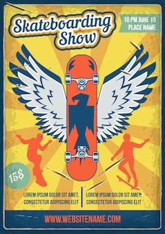 Projekt plakatu z ilustracją deskorolki ze skrzydłami i sylwetkami ludzi na deskorolkach.