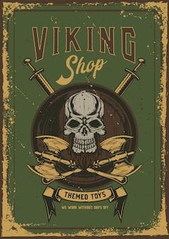 Projekt plakatu z ilustracją przedstawiającą czaszkę z toporami