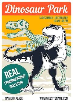 Projekt plakatu z ilustracją przedstawiającą dinozaura i jego szkielet