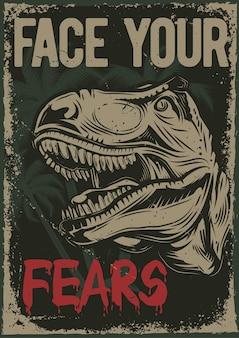 Projekt plakatu z ilustracją przedstawiającą głowę dinozaura
