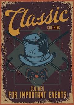 Projekt plakatu z ilustracją przedstawiającą kapelusz i laskę