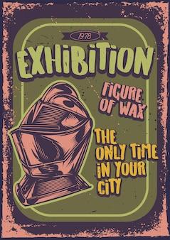 Projekt plakatu z ilustracją przedstawiającą rycerza