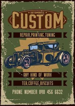 Projekt plakatu z ilustracją reklamy niestandardowego serwisu samochodowego