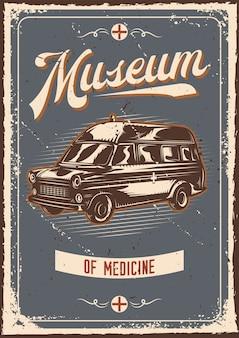 Projekt plakatu z ilustracją reklamy z samochodem ratunkowym
