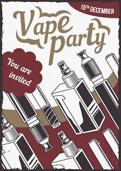 Projekt plakatu z ilustracją różnych vapes