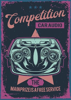 Projekt plakatu z ilustracją samochodowego systemu audio