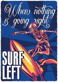 Projekt plakatu z ilustracją szkieletu surfera