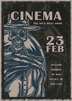 Projekt plakatu z ilustracją szkieletu w kowbojskim kapeluszu