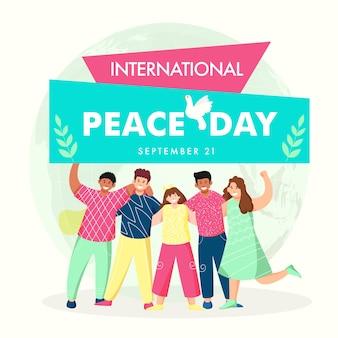 Projekt plakatu z okazji międzynarodowego dnia pokoju z wesołą grupą młodych chłopców i dziewcząt w pozycji stojącej.