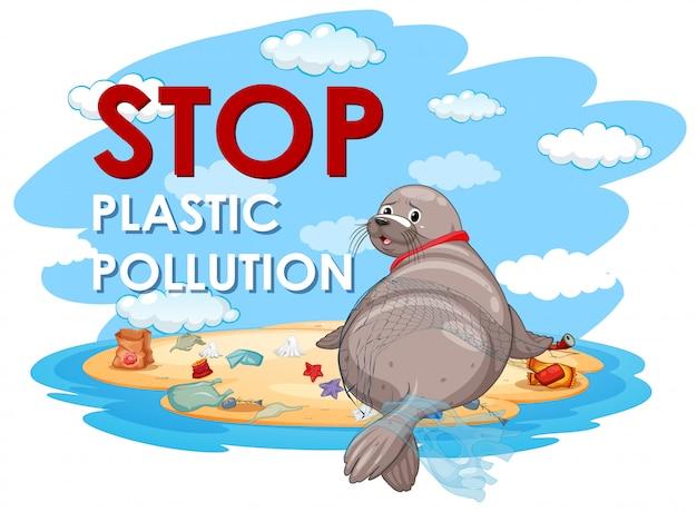 Projekt plakatu z pieczęcią i plastikowymi torbami