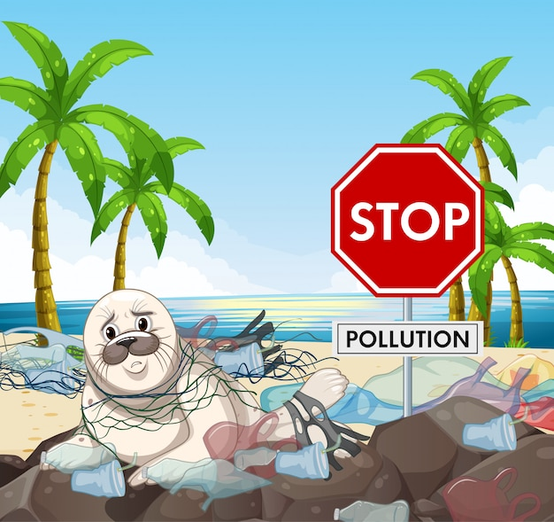 Projekt plakatu z pieczęcią i znak stop zanieczyszczenia