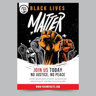 Projekt plakatu z podniesioną pięścią black lives matter