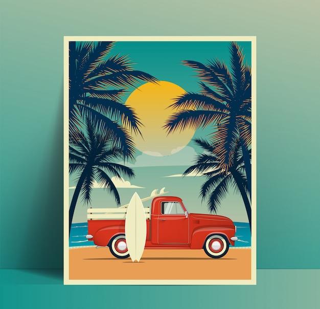 Projekt plakatu z podróży letniej z zabytkową ciężarówką surfingową na plaży z deską surfingową w bagażniku i drugą deską surfingową pochylił się do sylwetki karoserii i dłoni o zachodzie słońca. ilustracja