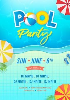 Projekt plakatu zaproszenie na przyjęcie przy basenie