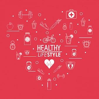 Projekt Plakatu Zdrowego Stylu życia W Kształcie Serca Premium Wektorów