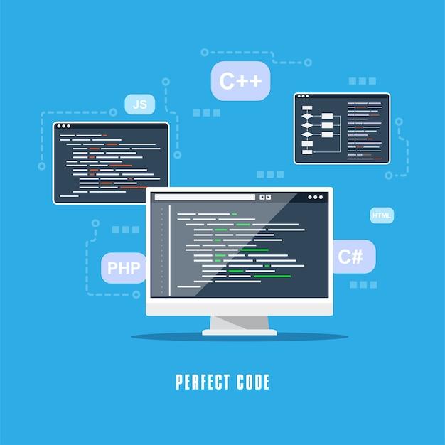 Projekt płaski, kodowanie, programowanie, koncepcja rozwoju aplikacji.
