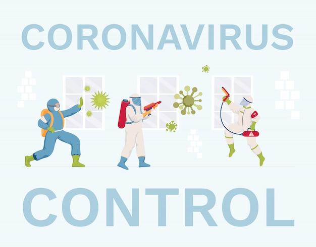 Projekt płaskiego banera kontroli koronawirusa. pracownicy medyczni w kombinezonach ochronnych i maskach do dezynfekcji powierzchni.