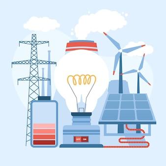 Projekt płaskiej ilustracji energii odnawialnej