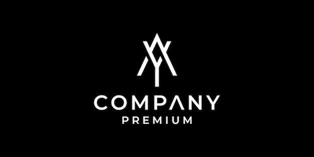 Projekt początkowej litery logo ay