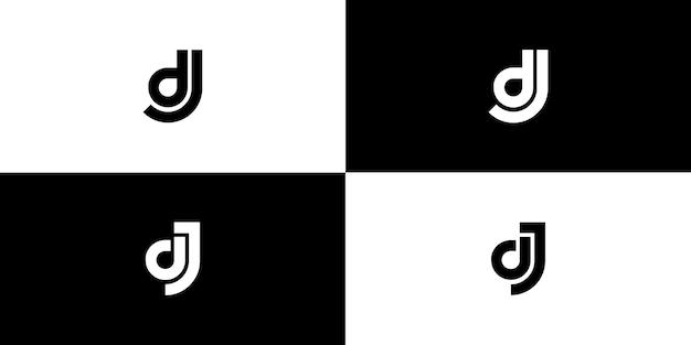 Projekt początkowej litery logo dj jd