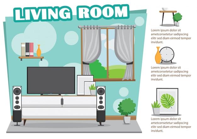 Projekt pokoju dziennego z telewizorem i dekoracją