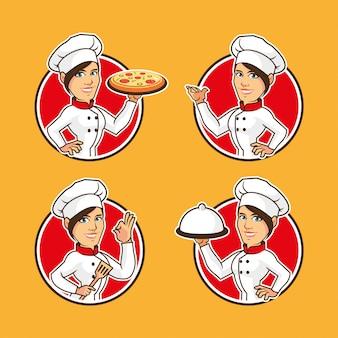 Projekt postać z kreskówki szefa kuchni kobiet