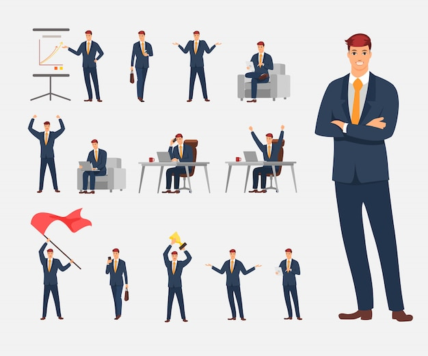 Projekt postaci biznesmen. charakter akcji ustawiony w biznesie.