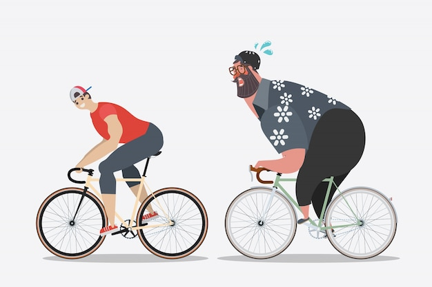 Projekt postaci kreskówek. szczupli mężczyźni z grubymi mężczyznami na rowerze.