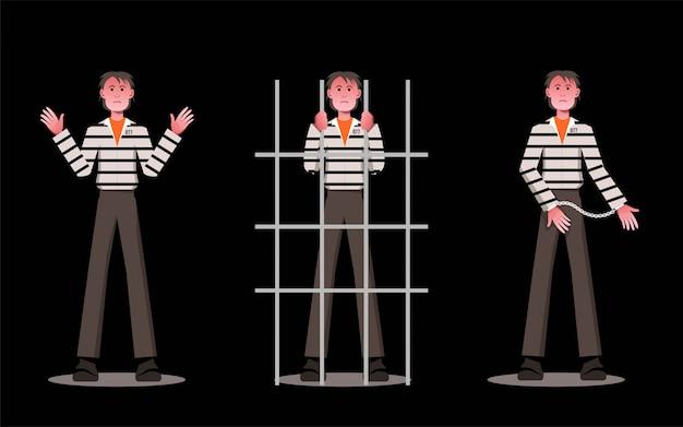 Projekt postaci płaskiego czarno-białego kostiumu złodzieja
