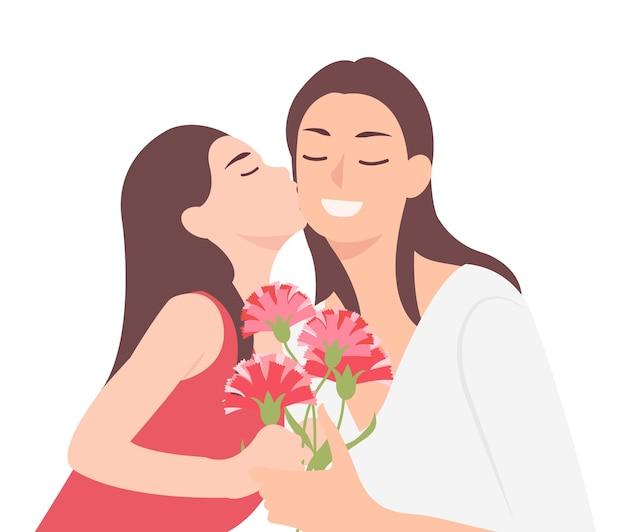Projekt postaci z kreskówek ludzie szczęśliwy dzień matki dziecko córka całuje mamę i dając jej kwiat goździka w prezencie. idealny zarówno do druku, jak i projektowania stron internetowych.