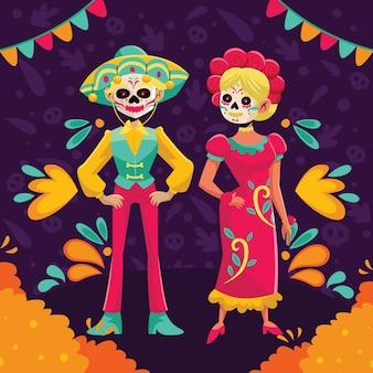 Projekt postaci z płaskiej kreskówki dia de muertos