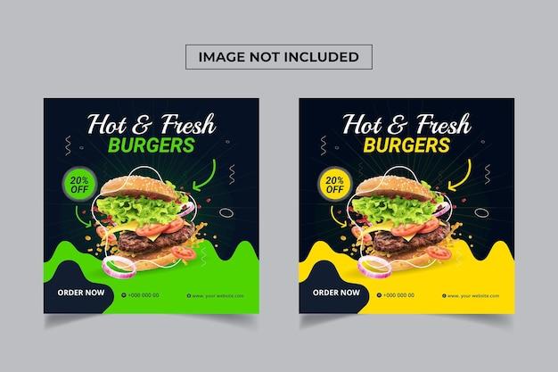 Projekt postów w mediach społecznościowych z gorącym świeżym burgerem
