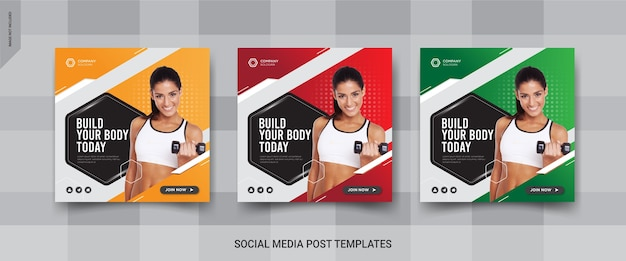 Projekt postu w mediach społecznościowych fitness gym
