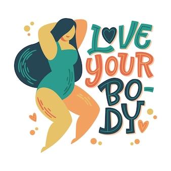 Projekt pozytywnego napisu na ciele. ręcznie narysowana fraza inspirująca - kochaj swoje ciało - z kręconą dziewczyną do tańca.