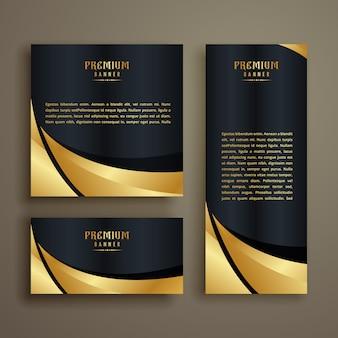 Projekt premium błyszczący złoty fala baner